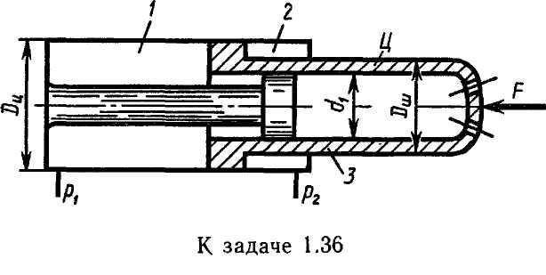 Задача 1.37.  На рисунке представлена конструктивная схема гидрозамка, проходное сечение которого открывается при...